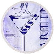 Dirty Martini Patent Blueprint Round Beach Towel by Jon Neidert