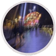Round Beach Towel featuring the photograph Disassembly by Alex Lapidus