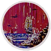 Disaster On The Reef Round Beach Towel