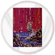 Disaster On The Reef Round Beach Towel by Frank Hunter