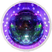 Disco Ball Purple Round Beach Towel