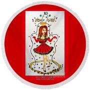 Round Beach Towel featuring the painting Disco Queen 80's by Don Pedro De Gracia