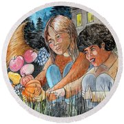 Discovering Heloise O'lantern Round Beach Towel