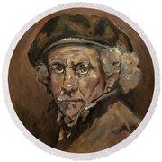 Disguised As Rembrandt Van Rijn Round Beach Towel by Nop Briex
