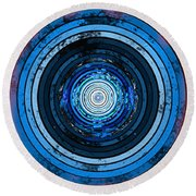 Circularity On Red Drape Round Beach Towel
