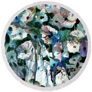 Round Beach Towel featuring the painting Disney Petunias by Mindy Newman