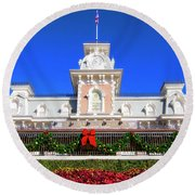 Disney Railroad Station Round Beach Towel