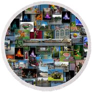 Disney World Collage Rectangle Pm Round Beach Towel
