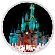 Round Beach Towel featuring the photograph Disney World Night by John Haldane