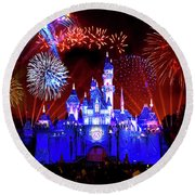 Disneyland 60th Anniversary Fireworks Round Beach Towel