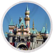 Round Beach Towel featuring the photograph Disneyland Castle by Mariola Bitner