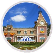 Round Beach Towel featuring the photograph Disneyland Entrance by Mark Andrew Thomas