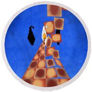 Disrupted Egg Path On Blue Round Beach Towel