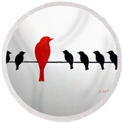 Round Beach Towel featuring the painting Dissonant by Edwin Alverio