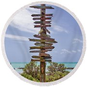 Distance From Key West Round Beach Towel