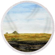 Distant Courthouse And Jail Rocks Round Beach Towel by R Kyllo