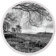 Distant Folly Round Beach Towel