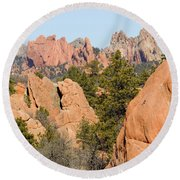 Distant Garden Of The Gods From Red Rock Canyon Round Beach Towel