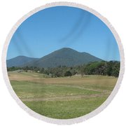 Distant Moutains Round Beach Towel