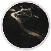 Distant People Walking On Winding Dark Path Round Beach Towel