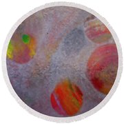 Round Beach Towel featuring the painting Distant Planets by Robert Margetts