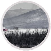 Distant Red Barn Round Beach Towel