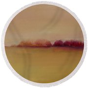 Round Beach Towel featuring the painting Distant Red Trees by Michelle Abrams