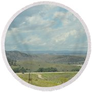 Distant Roads Round Beach Towel