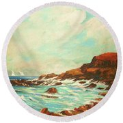 Round Beach Towel featuring the painting Distant Sails Of The Cove by Al Brown