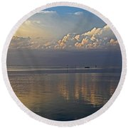 Round Beach Towel featuring the photograph Distant Thunder by HH Photography of Florida
