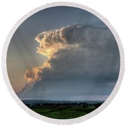 Distant Thunderstorm Round Beach Towel