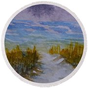 Distant Waves Round Beach Towel