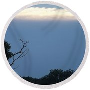 Round Beach Towel featuring the photograph Distant White Clouds by Don Koester