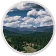 Distant Windows Round Beach Towel