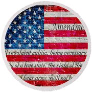 Distressed American Flag And Second Amendment On White Bricks Wall Round Beach Towel