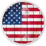 Distressed American Flag On Wood Planks - Horizontal Round Beach Towel