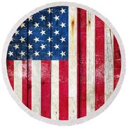 Distressed American Flag On Wood - Vertical Round Beach Towel