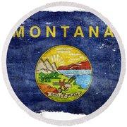Distressed Montana Flag Round Beach Towel