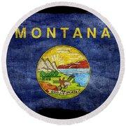 Distressed Montana Flag On Black Round Beach Towel