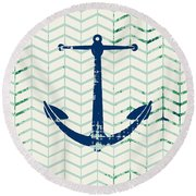 Distressed Navy Anchor V2 Round Beach Towel