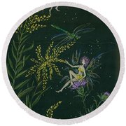 Round Beach Towel featuring the drawing Ditchweed Fairies Goldenrod And Thistle by Dawn Fairies