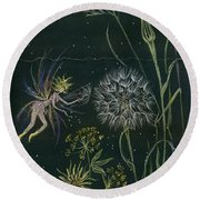 Round Beach Towel featuring the drawing Ditchweed Fairy Grasses by Dawn Fairies