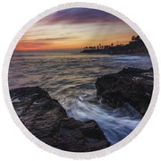 Diver's Cove Sunset Round Beach Towel