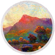 Round Beach Towel featuring the painting  Buddha Meditation, Divine Light by Jane Small