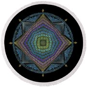 Round Beach Towel featuring the painting Divine Masculine Energy by Keiko Katsuta