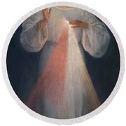 Round Beach Towel featuring the painting Divine Mercy by Eugene Kazimierowski