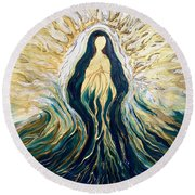 Divine Mother Round Beach Towel