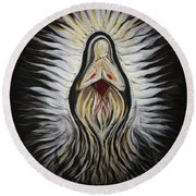 Divine Mother Milagro Round Beach Towel