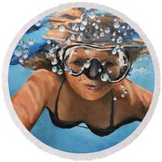 Diving Round Beach Towel