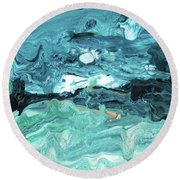 Diving In- Abstract Art By Linda Woods Round Beach Towel